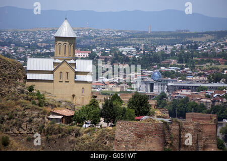 Churches and domes of Tbilisi, view to historical part of the capital of Republic of Georgia - Stock Photo