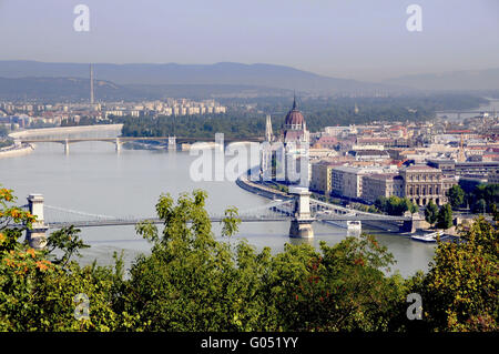 Panoramic look to the part of town plague in Budap - Stock Photo