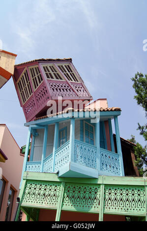 Traditional falling wooden carving balconies of Old Town of Tbilisi, Republic of Georgia - Stock Photo