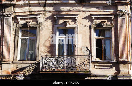 Art-Nouveau facade in Tbilisi Old town, restored area around Marjanishvilis square - Stock Photo