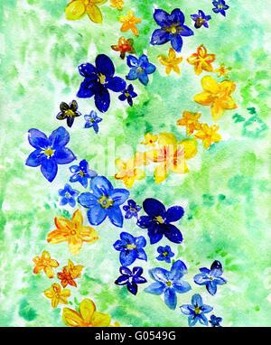 watercolor dark blue and yellow flowers on a white