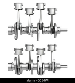 Engine pistons on a crankshaft, two positions - Stock Photo