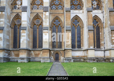 Westminster Abbey, Gothic church lateral entrance in London - Stock Photo