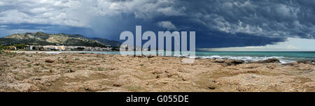 Sea landscape with coast view. Storm sky with lightning, Panorama. - Stock Photo