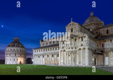 Baptistry and dome of Pisa after sunset, Tuscany, - Stock Photo