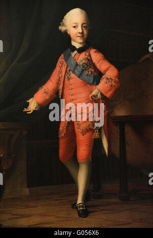 Emperor of Russia Paul I (1754-1801). Portrait of Czar in his childhood as Grand Duke Paul Petrovich in the Classroom. - Stock Photo