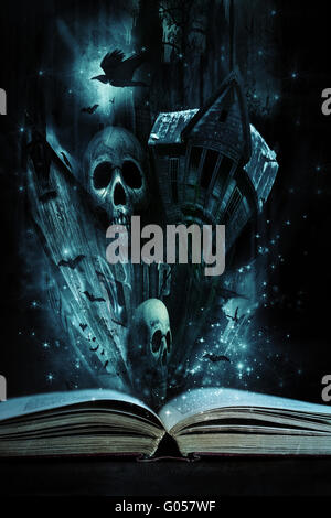 Open story book with Halloween stories coming aliv