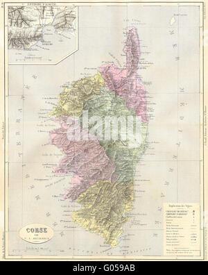 CORSICA Corse Corsica dAjaccio MALTEBRUN 1852 antique map