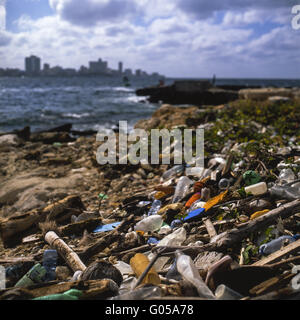 Choking on domestic waste - Stock Photo
