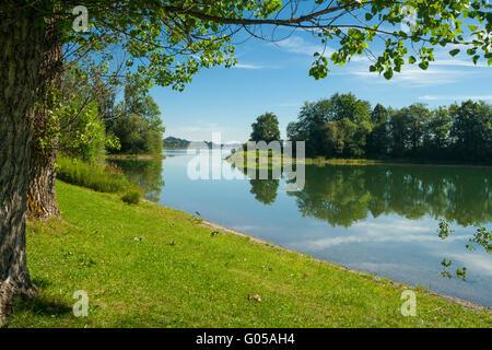 Lake Forggensee near the city Füssen in Bavaria - Germany - Stock Photo