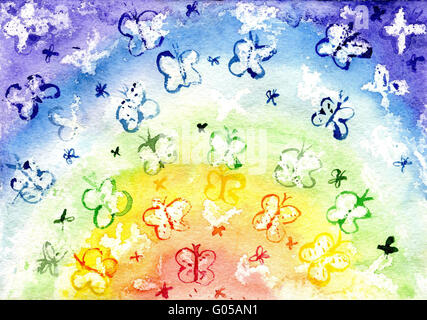 Watercolor the butterfly in the form of a rainbow - Stock Photo