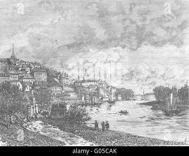 MAYENNE: Chateau-Gontier, antique print 1882 - Stock Photo