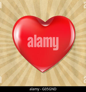 Red Heart With Cardboard Structure With Sunburst - Stock Photo
