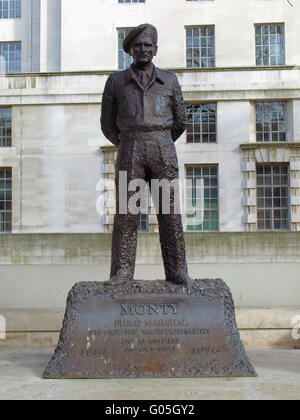 The statue outside the Ministry of Defence in London to commemorate the service of Field Marshal Montgomery - Stock Photo