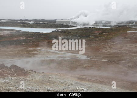 Gunnuhver geothermal field and Reykjanes Power Station - the geothermal power station. Reykjanes Peninsula - Stock Photo