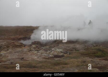 Gunnuhver geothermal field. Reykjanes Peninsula - Stock Photo
