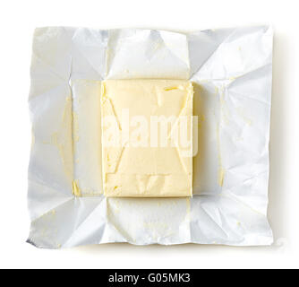 Butter package isolated on white background, top view - Stock Photo