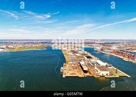 Bayonne, USA - April 25, 2015: Aerial view of Bayonne Dry Dock and Repair in Bayonne, New Jersey, USA. Global container - Stock Photo