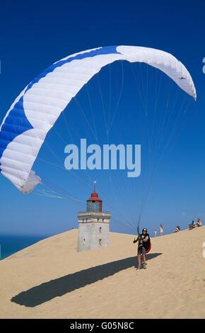 Rubjerg Knude, Paraglider on the dune,  northern Jutland, Denmark, Scandinavia, Europe - Stock Photo