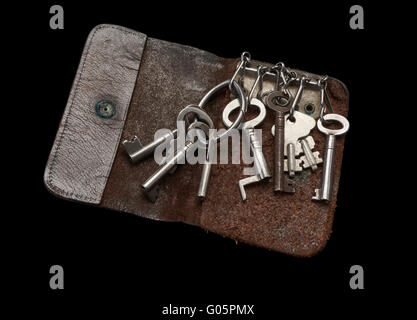 Old Keys in Old Key Wallet isolated - Stock Photo