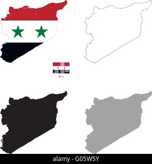 Syria country black silhouette and with flag on background - Stock Photo
