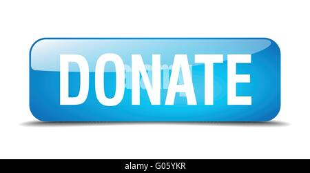 donate blue 3d realistic square isolated button Stock ...