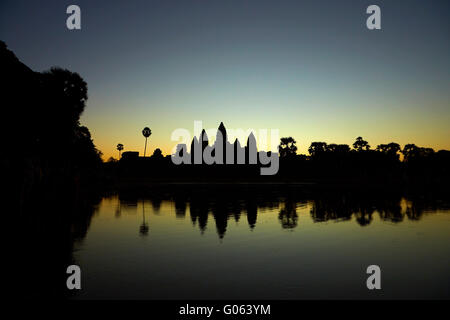 Sunrise over Angkor Wat, Angkor World Heritage Site, Siem Reap, Cambodia - Stock Photo
