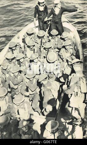 Royal Marines Landing party at sea WW2 - Stock Photo