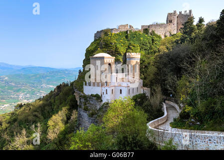 Erice, castle, Trapani, Sicily, Italy - Stock Photo