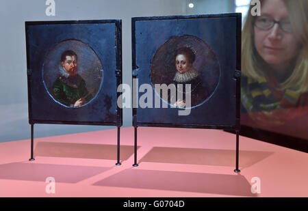 Torgau, Germany. 29th Apr, 2016. Paintings of Electress Magdalena Sibylla of Saxony and her husband Elector Johann - Stock Photo