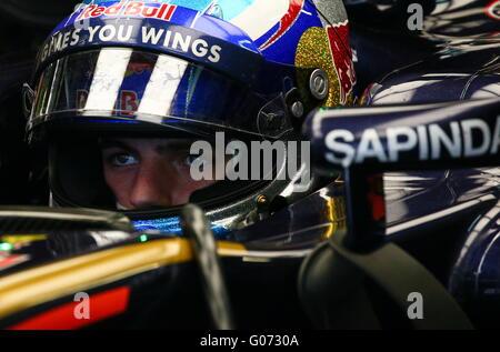 Sochi, Russia. 29th Apr, 2016. Scuderia Toro Rosso driver Max Verstappen of the Netherlands in his car before a - Stock Photo