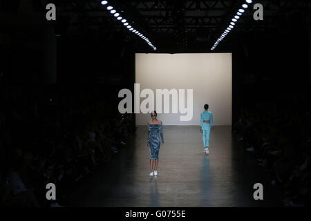 Sao Paulo, Brazil. 29th Apr, 2016. Models present creations by Wagner Kallieno during the Sao Paulo Fashion Week - Stock Photo