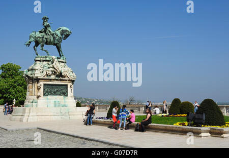 Statue of Prince Eugene of Savoy in front of the Hungarian National Gallery at the Royal Palace, Budapest, Hungary - Stock Photo