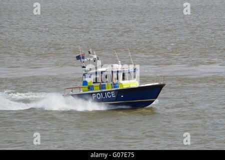 Met Police Marine Policing Unit boat  Sir Robert Peel II MP4 heading up the Thames in London UK - Stock Photo