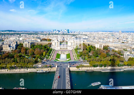 la defence in paris france view from top of Eiffel - Stock Photo