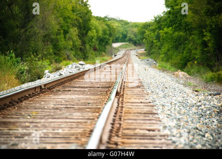 Railway on a sunny day - Stock Photo