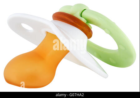 Pacifier isolated on white with clipping path - Stock Photo