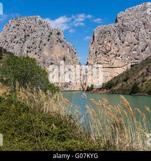 Malaga Province, Andalusia, southern Spain.  El Chorro gorge near Alora.  Desfiladero de los Gaitanes. - Stock Photo