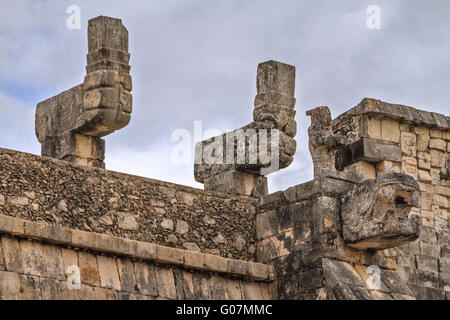 Detail Temple of the Warriors Chichen Itza Mexico - Stock Photo