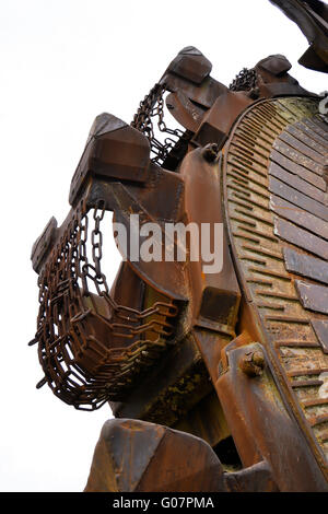 Detail of a brown coal excavator in an open pit - Stock Photo