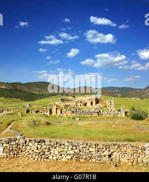 ancient amphitheater and ruins in Pamukkale Turkey - Stock Photo