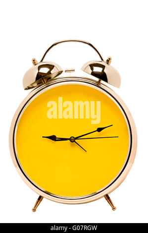 Retro Alarm Clock With Yellow Face And Copy Space - Stock Photo