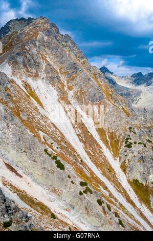 View of mountains from Solisko in High Tatras in Slovakia with cloudy blue sky. Vertical photo - Stock Photo