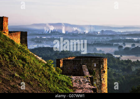 Castle Teufelsburg with view to the ironworks - Stock Photo