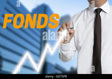 fonds (in german fund) trader distinguishes market price on touchscreen. - Stock Photo