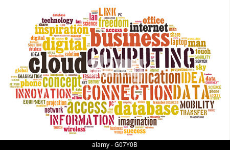 Cloud computing pictogram on white background - Stock Photo