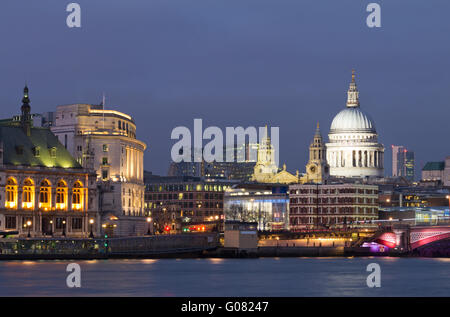 Evening view of the Thames and St Paul's Cathedral. London - Stock Photo