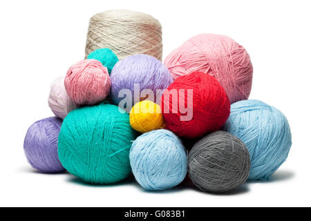 colorful balls of woollen threads isolated over wh - Stock Photo