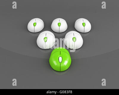 green leading computer mouse over grey background - Stock Photo