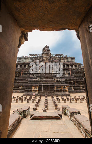 Angkor Wat as seen from the doorway in Siem Reap, Cambodia - Stock Photo
